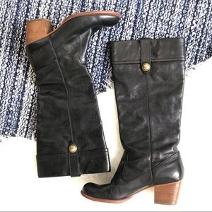 Coach Fayth black leather knee high riding boots